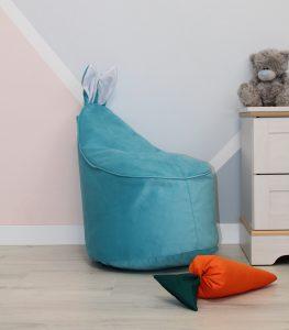 Велюровое голубое Кресло-мешок 80*55