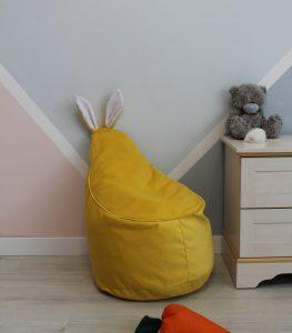 Велюровое желтое Кресло-мешок 80*55