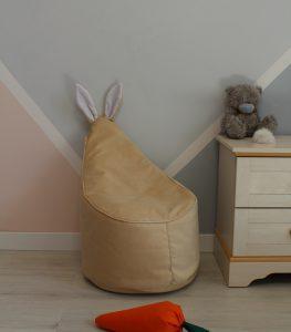 Велюровое ванильное Кресло-мешок 80*55