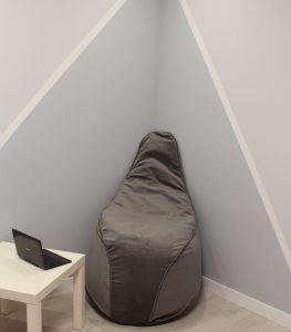 Велюровое серое Кресло-мешок 120*90